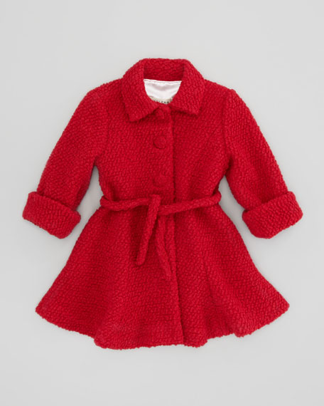 Boucle-Knit Coat, Red, Sizes 4-6X