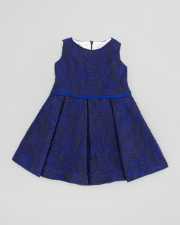 Helena Soft Rose Brocade Dress, Blue, 2T-3T