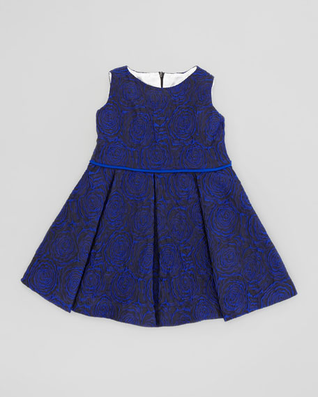Soft Rose Brocade Dress, Blue, 2T-3T