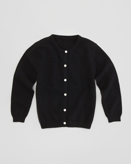 Cashmere Crewneck Cardigan, Black, Sizes 2T-6