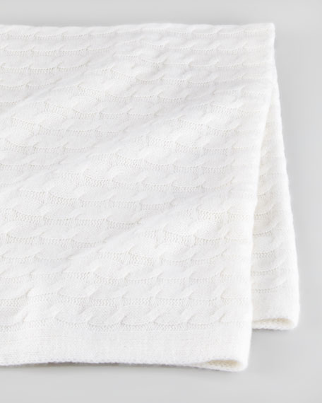 Cashmere Cable Blanket, Ice White