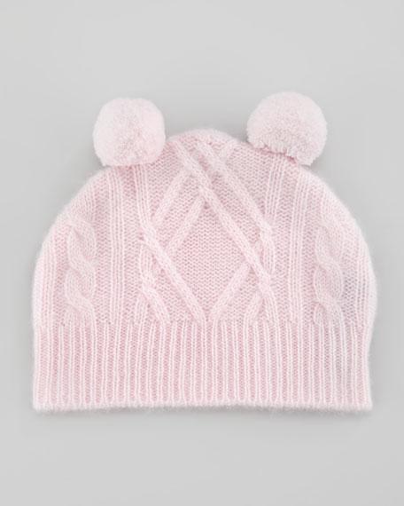 Cashmere Cable Pom Pom Hat, Cherry Blossom
