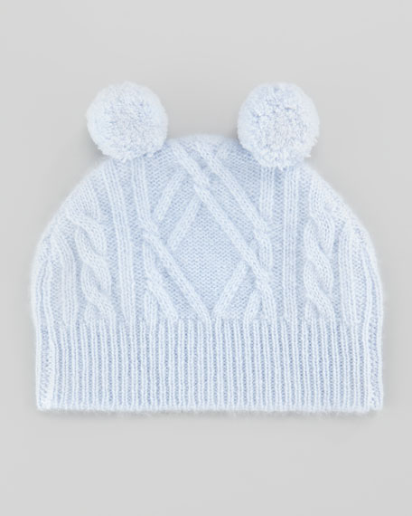 Cashmere Cable Pom Pom Hat, Blue