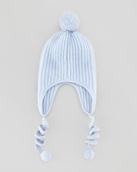 Cashmere Pom Pom Corkscrew Hat, Blue