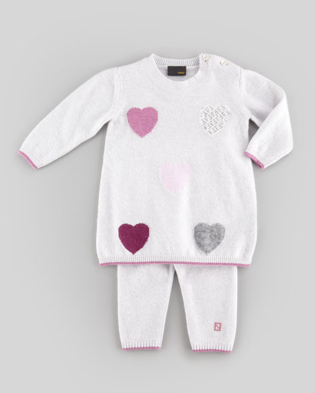 Knit Heart Sweaterdress, Gray, 3-9 Months