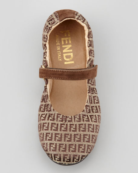 Toddler Zucca-Print Mary Jane Flat, Brown