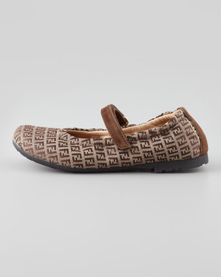 Youth Zucca-Print Mary Jane Flat, Brown
