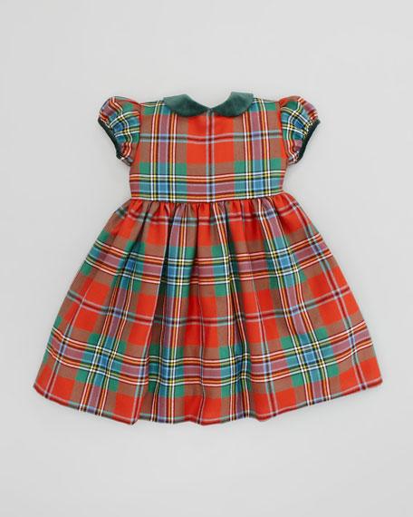 Gathered-Sleeve Plaid Dress, Red, 4Y-6Y