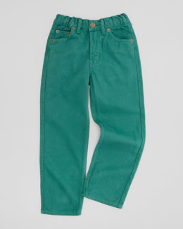 Oscar de la Renta Boys' Twill Jeans, Green, Sizes 4-10