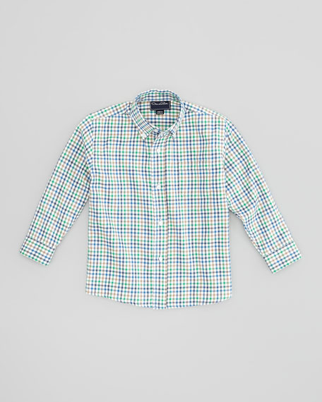 Boys' Check Button-Down Shirt, Green, 4Y-10Y