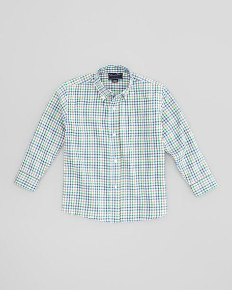 Boys' Check Button-Down Shirt, Green, 4Y-10Y
