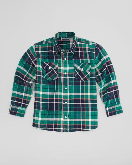 Plaid Fisherman Shirt, Green, Sizes 4-10