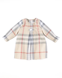 Burberry Check Pintuck Dress, Cream, 3-18 Months
