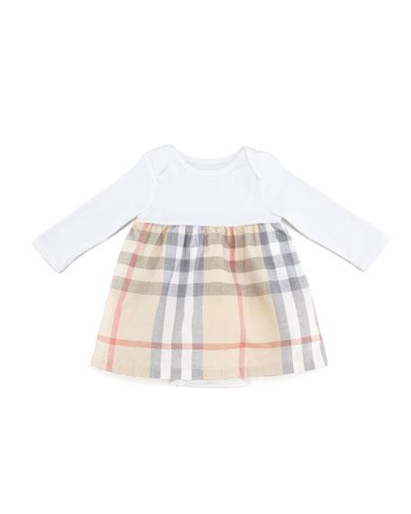 Infant Girls' Check Long-Sleeve Dress, Cream, 3-18 Months