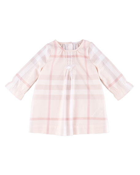 Check Pintuck Dress, Pink, 3-18 Months