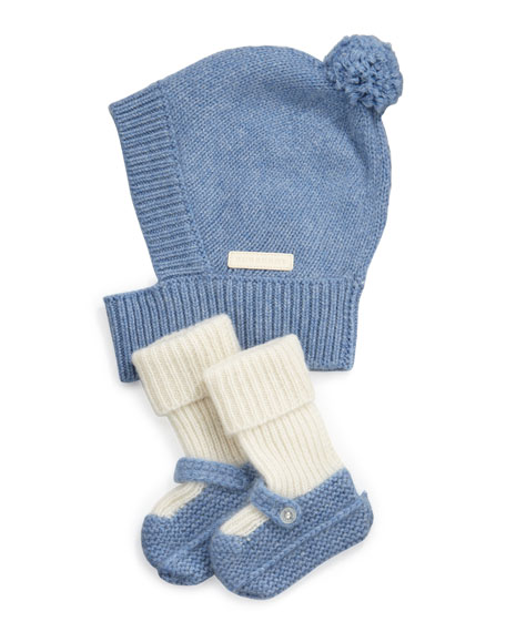Newborn Knit Hat & Mary Jane Booties Set, Light Blue