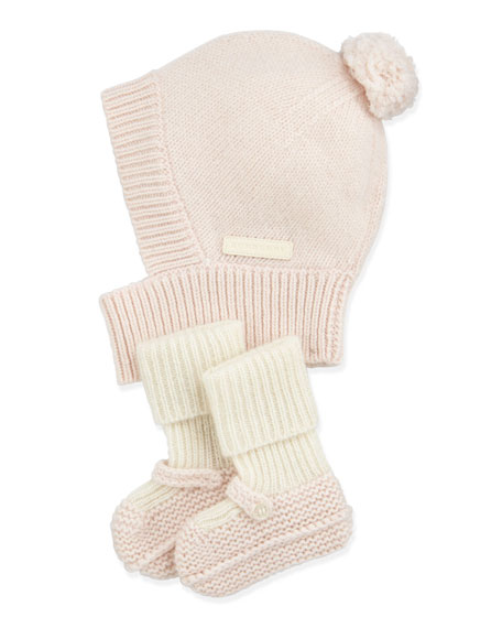 Newborn Knit Cashmere Hat & Mary Jane Booties Set, Light Pink