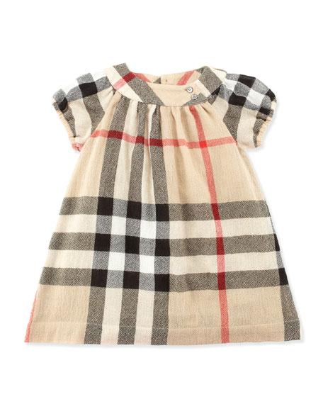 Check Crinkle-Knit Dress, Khaki, 2T-3T