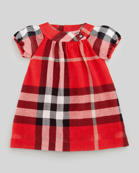 Check Crinkle-Knit Dress, Red, 2T-3T