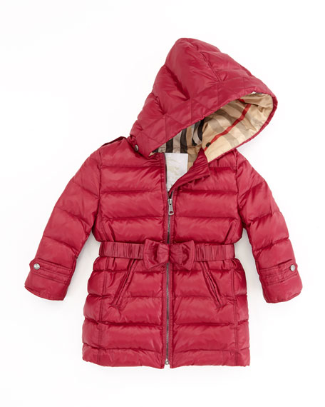 Girls' Puffer Coat, Pink, 2T-3T