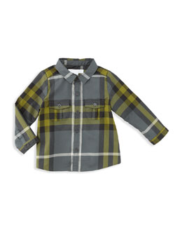 Burberry Boy's Check Shirt, Dark Gray, 12-18 Months