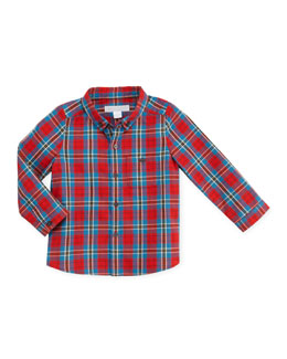 Burberry Infant Boys' Plaid Button-Down Shirt, Red, 12-18 Months