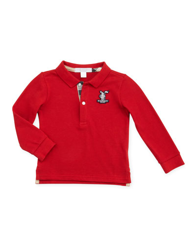 Burberry Long-Sleeve Knight Polo, Red, 12-18 Months