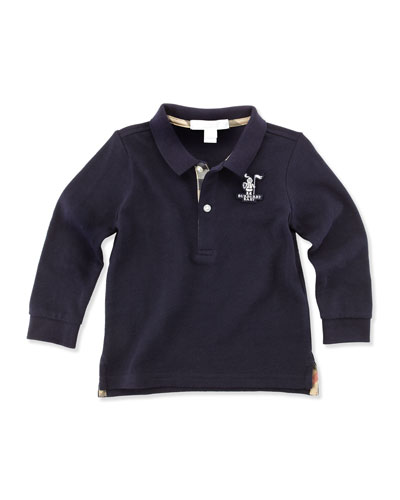 Burberry Long-Sleeve Polo, Navy, 12M-18M