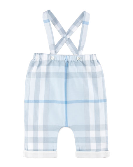 Check Overalls & Collared-Bodysuit Set, Porcelain Blue, 3-18 Months