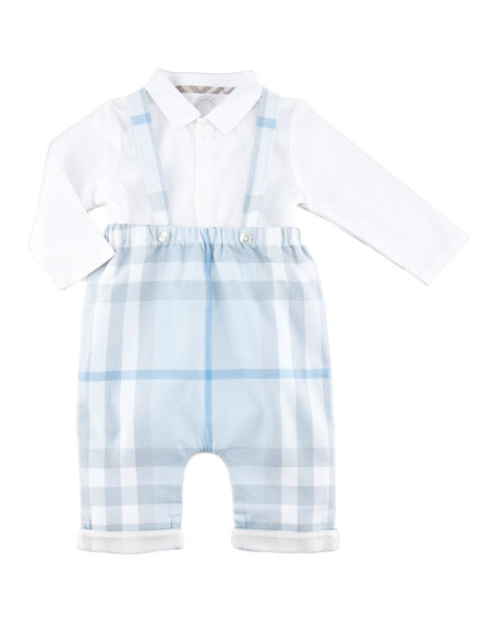 Check Overalls & Collared-Bodysuit Set, Porcelain Blue, 3-18 Months