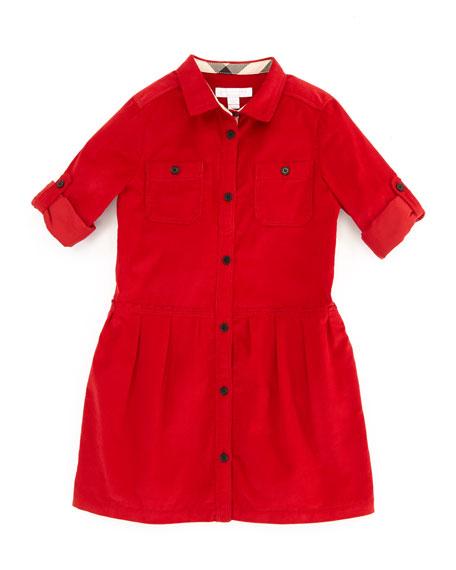 Corduroy Shirtdress, Ruby, 4Y-10Y