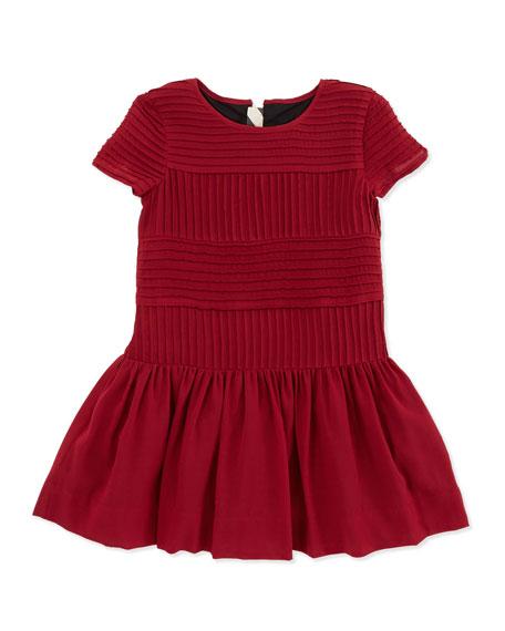 Pintuck Drop-Waist Silk Dress, Maroon, 4Y-10Y