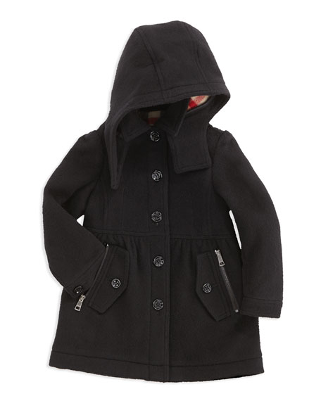 Girls' Hooded Wool-Blend Trench Coat, Black