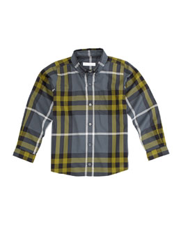 Burberry Long-Sleeve Patch-Pocket Check Shirt, Dark Gray
