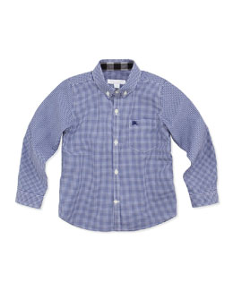 Burberry Boys' Gingham-Check Shirt, Blue, 4Y-10Y