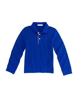 Burberry Pique Long-Sleeve Polo Shirt, Blue, Sizes 4-10