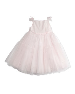 Tartine et Chocolat Girls' Flutter-Sleeve Tulle Dress, Pink, 8-10