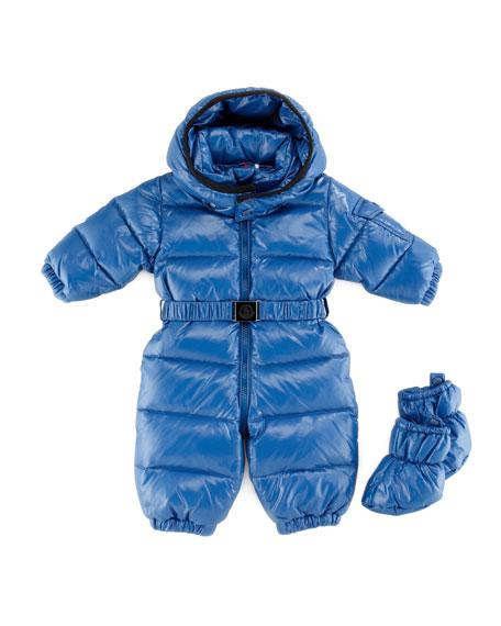 Amandes Quilted Snowsuit, Bright Blue, 18M-2T