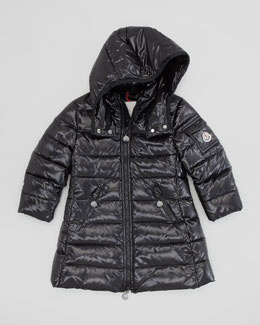 Moncler Girls' Long Moka Hooded Jacket, Black, Sizes 2-6