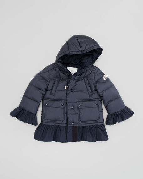 Seri Quilted Jacket with Ruffle Trim, Blue, Sizes 2-6