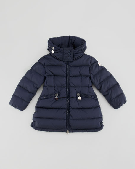 Flamme Long Quilted Jacket, Blue, Sizes 4-6