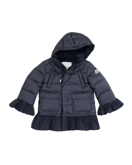 Seri Quilted Jacket with Ruffle Trim, Blue, Sizes 8-10