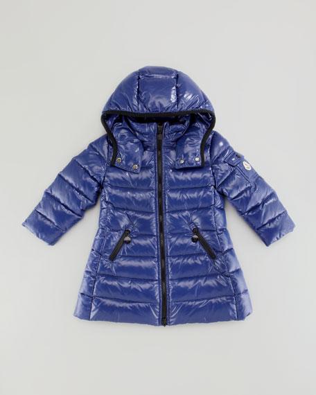 Girls' Long Moka Hooded Jacket, Blue, Sizes 2-6
