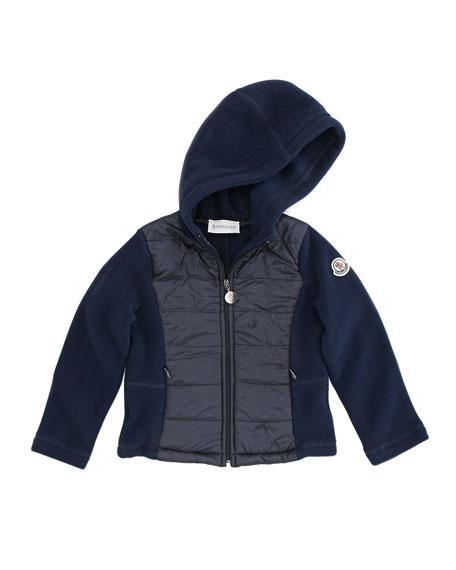 Girl's Nylon-Front Fleece Hoodie, Navy, Sizes 2-6