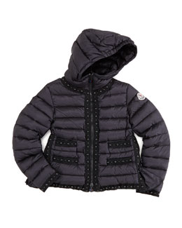 Moncler Fluette Studded Puffer Jacket, Black, Sizes 8-10