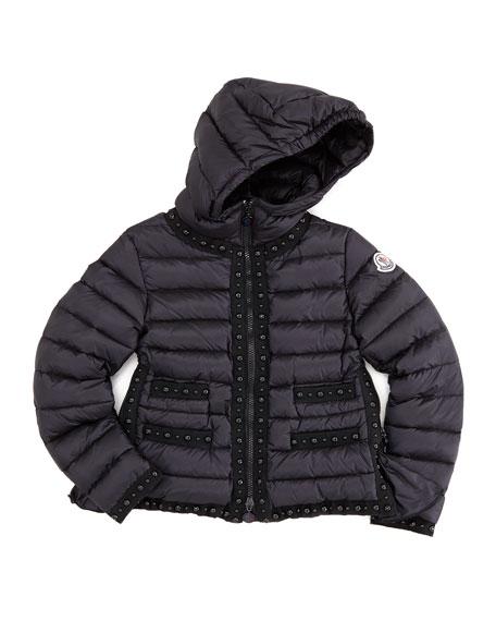 Fluette Studded Puffer Jacket, Black, Sizes 8-10