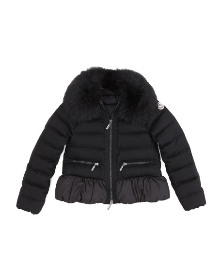 Abelia Fox-Fur Collar Jacket, Black, Sizes 8-10