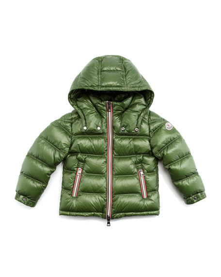 Green Puffer Jacket with Stripe Placket, Sizes 2-6