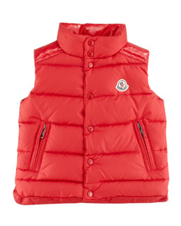 Moncler Quilted Down Vest, Red, Sizes 8-10