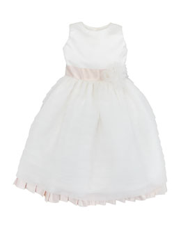 Joan Calabrese Organza & Satin Pleated Dress, Ivory/Light Pink, Sizes 2-10